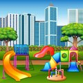 Urban summer public garden with kids playground
