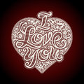 Iloveyou vector valentines day card with a lacy heart and i love you Stock Image