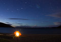 Iluminated camping tent in isla del sol front of titicaca lake Royalty Free Stock Photography