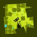 Ilustración del vector de un gato verde de la historieta Imágenes de archivo libres de regalías
