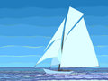 Ilustration of cartoon sailing yacht in blue tone. Stock Photo