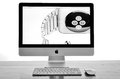 Imac with new iwatch on display an apple the much anticipated the image processed in black and white photograph taken in leeds th Royalty Free Stock Photos
