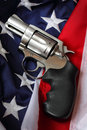 Image american flag colt pistol can be used to symbolize freedom gun rights united states shallow depth field selective focus Royalty Free Stock Photography