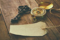 Image of antique key, empty canvas tag and compass Royalty Free Stock Photo