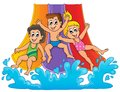 Image with aquapark theme eps vector illustration Royalty Free Stock Images