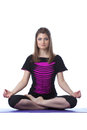 Image of attractive woman posing in lotus position isolated on white Stock Photo