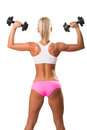 Image of beautiful athletic woman from back doing exercise on white background Royalty Free Stock Image