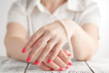 Image of beautiful nails and woman fingers Royalty Free Stock Photo