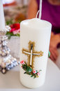 Image of a big candle in ritual wedding Stock Image