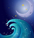 An image of a big wave and a moon illustration Stock Photography