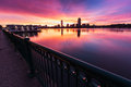 Image of the boston skyline and charles river taken at sunrise on a cbrilliantwinter morning Stock Photo