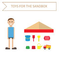 Image of a boy in a striped shirt and toys for the sandbox style flat outdoor games for children toys for the sandbox vector Stock Photography
