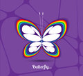 Image of a butterfly graphic white on purple background Royalty Free Stock Photography