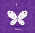 Image of a butterfly graphic white on purple background Royalty Free Stock Photo