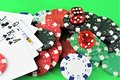 An image of a casino - dice, chip, gambling - with copy space Royalty Free Stock Photo