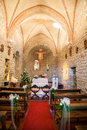 An image of a church decorated for a wedding ceremony Stock Photo