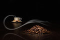 Image coffee beans white cup Royalty Free Stock Image