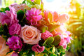 The image of colorful rose flower bouquet with blur background Royalty Free Stock Photo