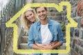Image composée de jeunes couples de hanche se reposant sur des étapes souriant à l appareil photo Images stock