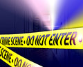 An image for the concept of crime scene investigates the image shows a crime scene with yellow tape the say crime scene do not Stock Photos