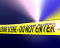 An image for the concept of crime scene investigates the image shows a crime scene with yellow tape the say crime scene do not Stock Photography