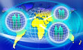 An image for the concept of secure worldwide network showing a map of planet earth with computer data code behind it and three Royalty Free Stock Photography