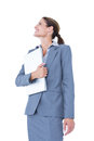 Image of confident businesswoman holding laptop on white background Stock Image