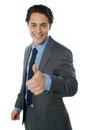 Image of a corporate man with thumbs up sign Royalty Free Stock Photography