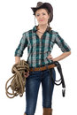 Image of cowgirl with the twine on white background Royalty Free Stock Photo