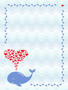 An image of a cute cartoon whale with hearts fountain in frame of water drops. Greeting, baby shower or invitation card
