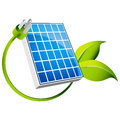 An image of a d solar panel icon with green leaf plug Royalty Free Stock Image
