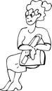 Image d une femme adulte en verres se reposant sur une chaise Photographie stock
