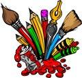 Image de dessin animé des approvisionnements d'art Photos libres de droits