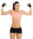 Image de la jeune femme sportive montrant son biceps d isolement sur le blanc Photo libre de droits