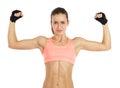 Image de la jeune femme sportive montrant son biceps d isolement sur le blanc Images libres de droits