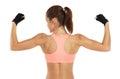 Image de la jeune femme sportive montrant son biceps d isolement sur le blanc Image stock