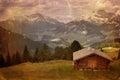 Image de style de vintage de vallée de montagne Image stock