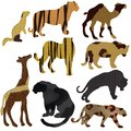 Background collection set of animals panther tiger camel giraffe in silhouette with fur texture Royalty Free Stock Photo