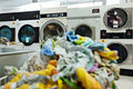 Image of dirty linens are laundered in modern washing machines Royalty Free Stock Photography