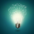 Image of electric idea bulb on blue background Royalty Free Stock Photo
