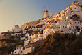 Image of the famous sunset setting in oia on santorini greece Stock Photo