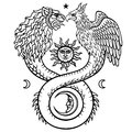 Image of fantastic animal ouroboros with a body of a snake and two heads of a lion and a bird. Symbols of the moon and sun.