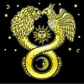 Image of fantastic animal ouroboros with a body of a snake and two heads of a lion and a bird.