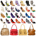 The image of female footwear and bags Stock Images