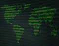 Image of a flat world map against a background of binary code Royalty Free Stock Photo