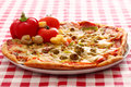 Image of fresh italian pizza on a tablecloth Stock Photos