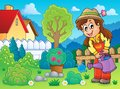 Image with gardener theme eps vector illustration Royalty Free Stock Photography
