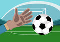 Image of goalkeeper hand with gloves holding a soccer ball. Stadium with Football field and gates on background.Vector Royalty Free Stock Photo