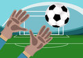 Image of goalkeeper hands with gloves holding a soccer ball. Stadium with Football field and gates on background.Vector Royalty Free Stock Photo