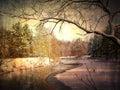 Image grunge de paysage d hiver Photo libre de droits